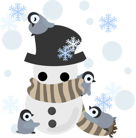 muffler: Baby penguins are making the big snowman winding um a muffler and covered a hat.