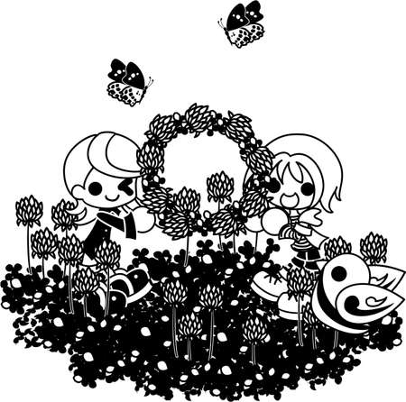 corolla: The girls who make a corolla with the flower garden of the white clover.