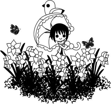 sunshade: The woman who puts up my sunshade, and walks the flower garden of the narcissus.