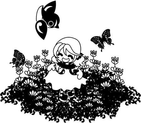 little bird: A girl who playing with a little bird and butterflies on the flower garden of henbit. Illustration