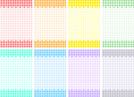 orange texture: Eight colors gingham check patterns Illustration