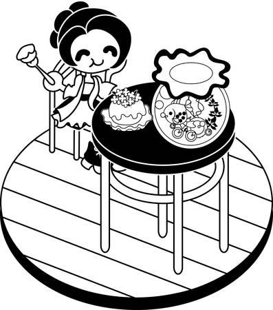 basin: The woman eating a cake and looking at a goldfish basin at a table. Illustration