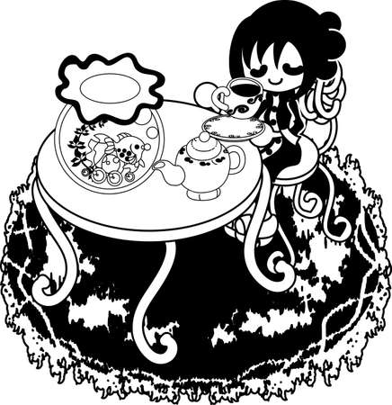 basin: The woman drinking tea at a table with a goldfish basin. Illustration