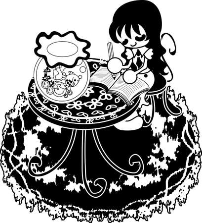writes: The woman who writes a diary on the table which a goldfish basin was put.