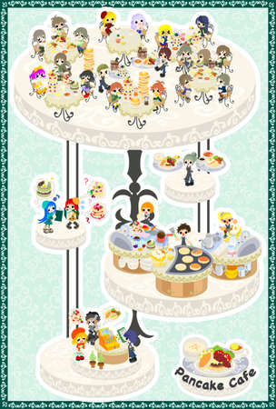 The postcard of lively pancake cafe