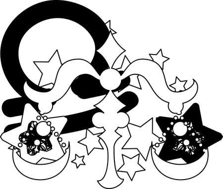 reflecting: Illustration reflecting the image of Libra of the horoscope.