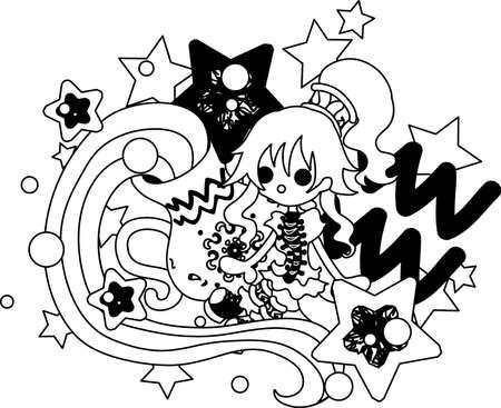 superstitions: Illustration reflecting the image of Aquarius of the horoscope. Illustration