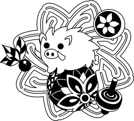 which one: The illustration of the boar which is usable for the one point of greeting cards.