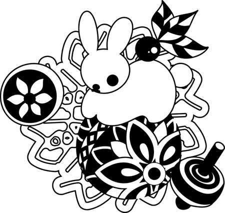 which one: The illustration of the rabbit which is usable for the one point of greeting cards.