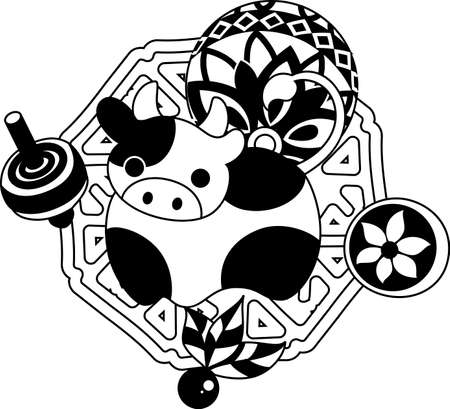 which one: The illustration of the cow which is usable for the one point of greeting cards.
