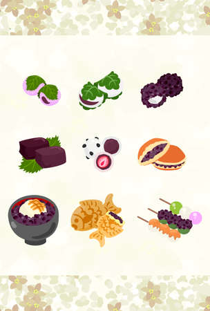 custom letters: The postcard of various Japanese sweets Illustration
