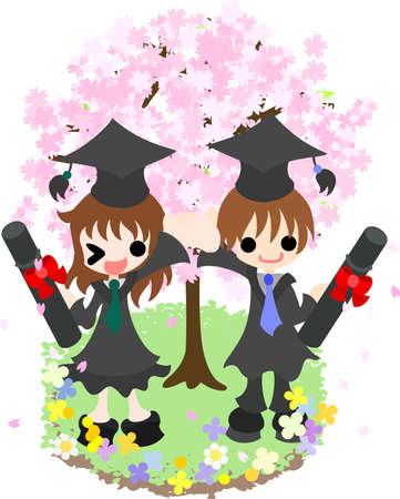 graduation ceremony: Illustration of graduate studentss graduation ceremony Illustration