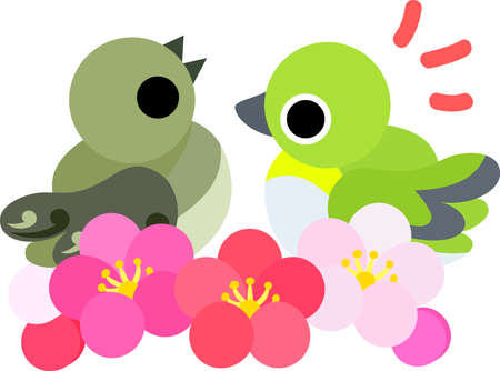 warble: The illustration of the pretty little birds of spring. Illustration