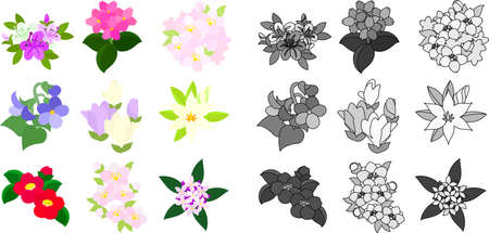 azalea: Cute icons of various flowers