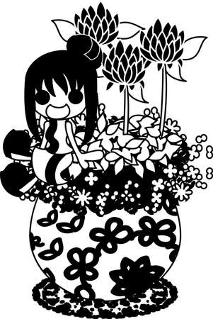 red clover: A cute little girl who is sitting on the flowerpot of red clover Illustration