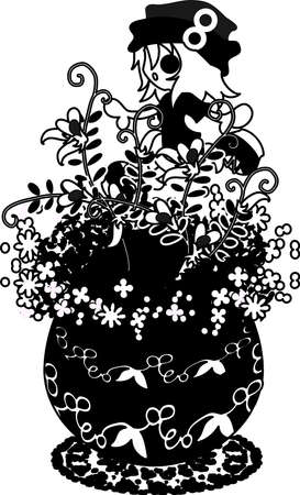vetch: A cute little girl who is standing still on the flowerpot of vetch Illustration