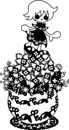 veronica flower: The cute little flowerpot-Veronica persica- Illustration