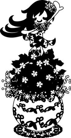 chickweed: A cute little girl who is dancing on the flowerpot of chickweed