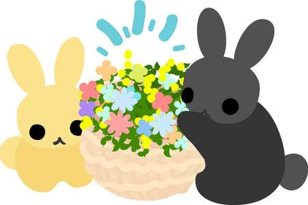 flower basket: Rabbits and a flower basket