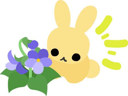 violet flower: A rabbit and a violet flower