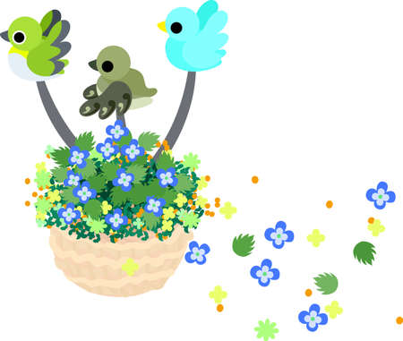 flower basket: Little birds fly with flower basket, and flowers are dancing.