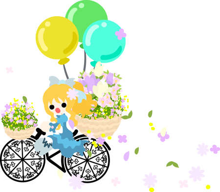 flower basket: A girl pedals the bicycle with the flower basket, and flowers are dancing.