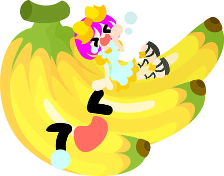 personification: A girl and banana want to sleep