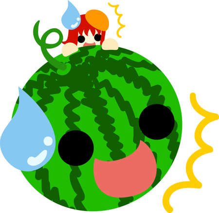 watermelon woman: A girl and watermelon are surprised. Illustration