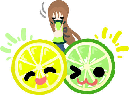 bowing: The girl and lemon and lime are bowing Illustration
