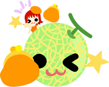 personification: A happy girl and melon with purses