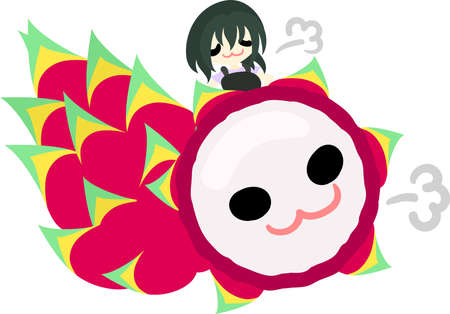 personification: Proud-looking girl and dragon fruit