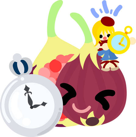 personification: A girl and fig having a clock