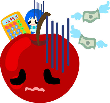 personification: A girl and the apple which are troubled with having no money Illustration