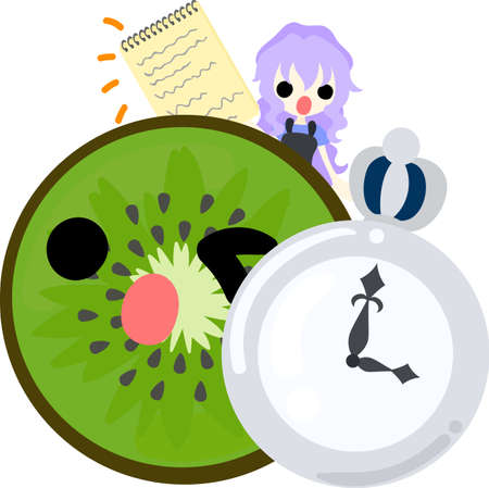 personification: A girl and kiwi fruit having a clock and a memo pad