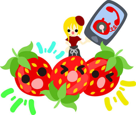 personification: A girl and strawberries having a mobile phone Illustration
