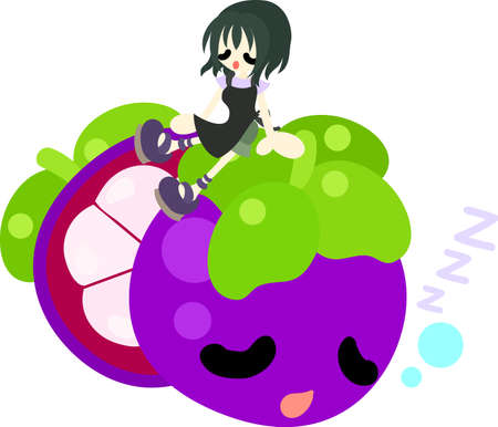 personification: A girl and the fruit which are taking a break