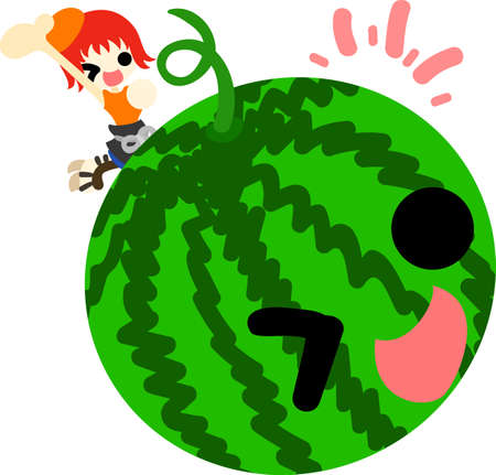 personification: A girl and watermelon to wave its hand to Illustration