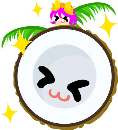 personification: The smiling coconut and girl
