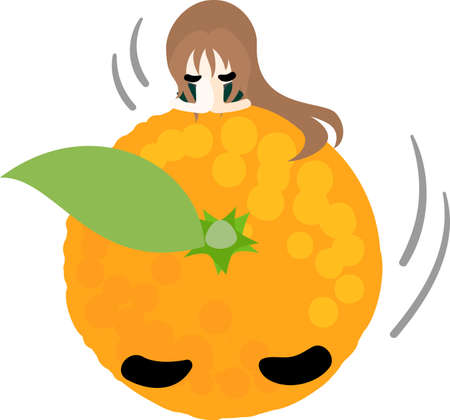 personification: A girl and the orange which bow Illustration
