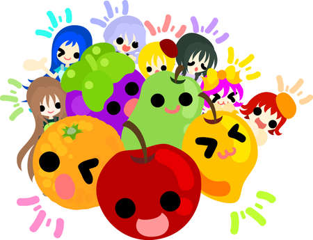 little girls: Big fruits and seven pretty little girls Illustration