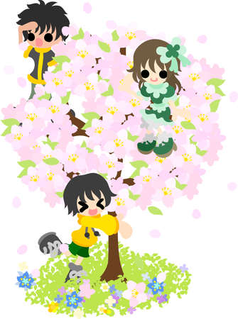high spirits: The cherry blossoms are in full glory, and children are in high spirits