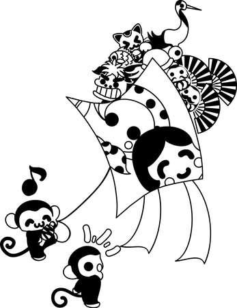 custom letters: Pretty monkey raising a big kite