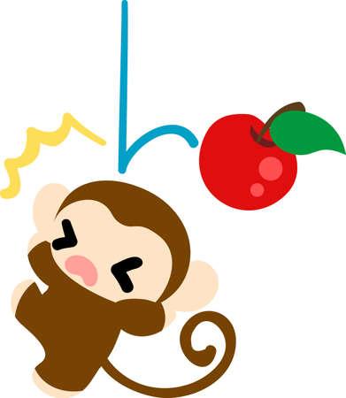 Un mono bonita que ha golpeado a una manzana en una cabeza