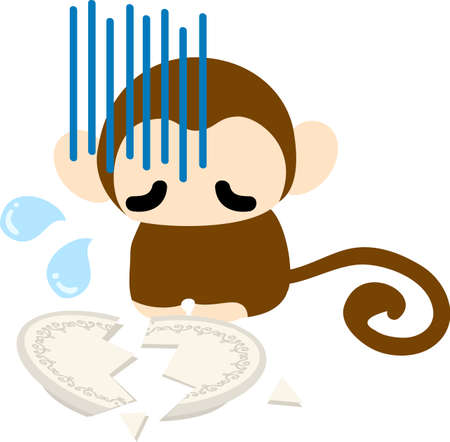 awkward: The pretty monkey is awkward because he breaks a dish Illustration