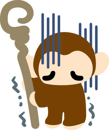 perplexity: The pretty monkey is awkward because he breaks a dish Illustration