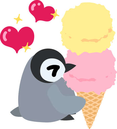 eats: A pretty penguin baby eats a delicious ice-cream