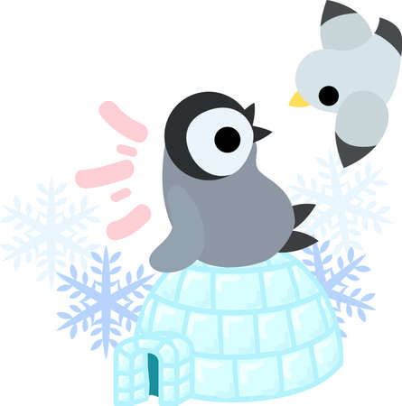 igloo: A pretty penguin baby and an igloo and a gull