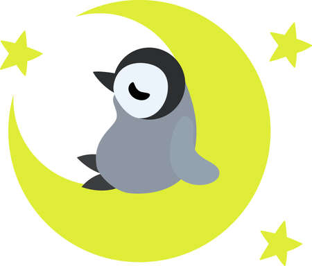 crescent moon: A pretty penguin baby sleeping on the crescent moon