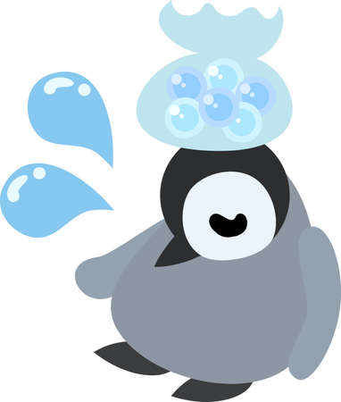 baby sick: The pretty baby penguin which has become sick Illustration
