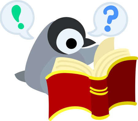 self study: A pretty penguin baby is studying